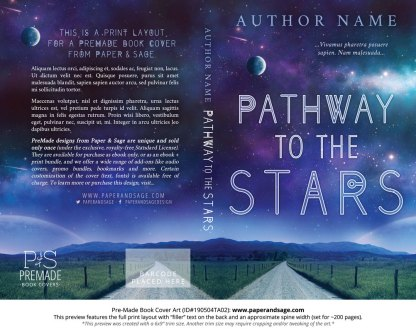Print layout for Pre-Made Book Cover ID#190504TA02 (Pathway to the Stars)