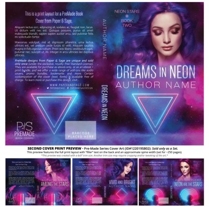 PreMade Series Covers ID#122019SB02 (Neon Stars Series, Only Sold as a Set)