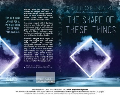 Pre-Made Book Cover ID#200304TA01 (The Shape of These Things)