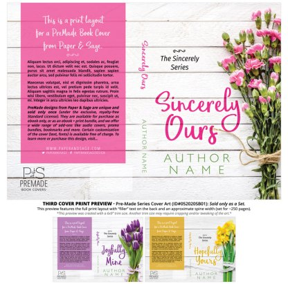 PreMade Series Covers ID#052020SB01 (Sincerely Series, Only Sold as a Set)