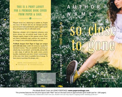 Pre-Made Book Cover ID#210309TA02 (So Close to Gone)