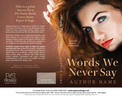 Pre-Made Book Cover ID#210402TA01 (Words We Never Say)