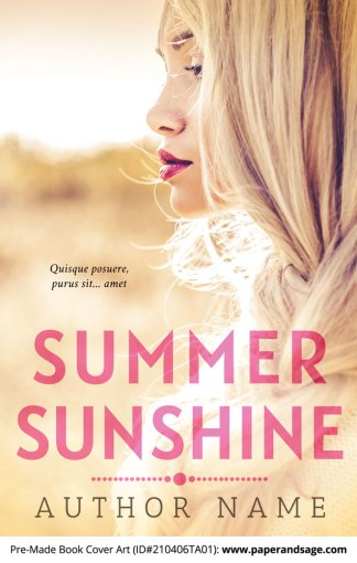 Pre-Made Book Cover ID#210406TA01 (Summer Sunshine)