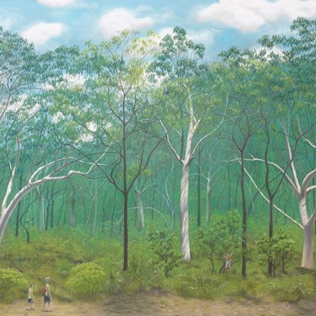 Scribbly gum woodland with a diverse heathy understorey (pastel)