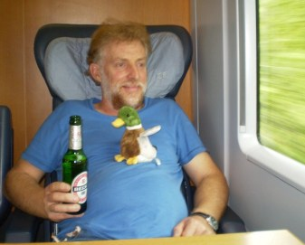 Living it up on a fast train to Switzerland.