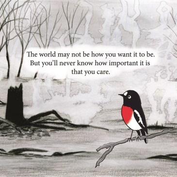 Scarlet robin in a burnt landscape