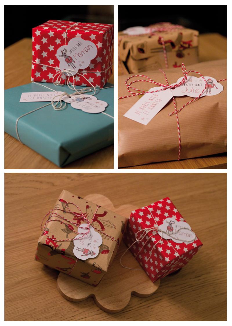 Cadeaux de Noël - emballage papier craft Baker twine