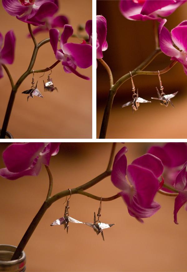 Boucles d'oreilles grues en origami