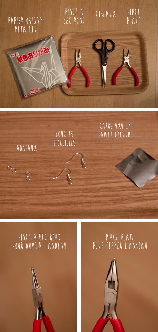 Matériel pour réalisation boucles d'oreilles grues en origami