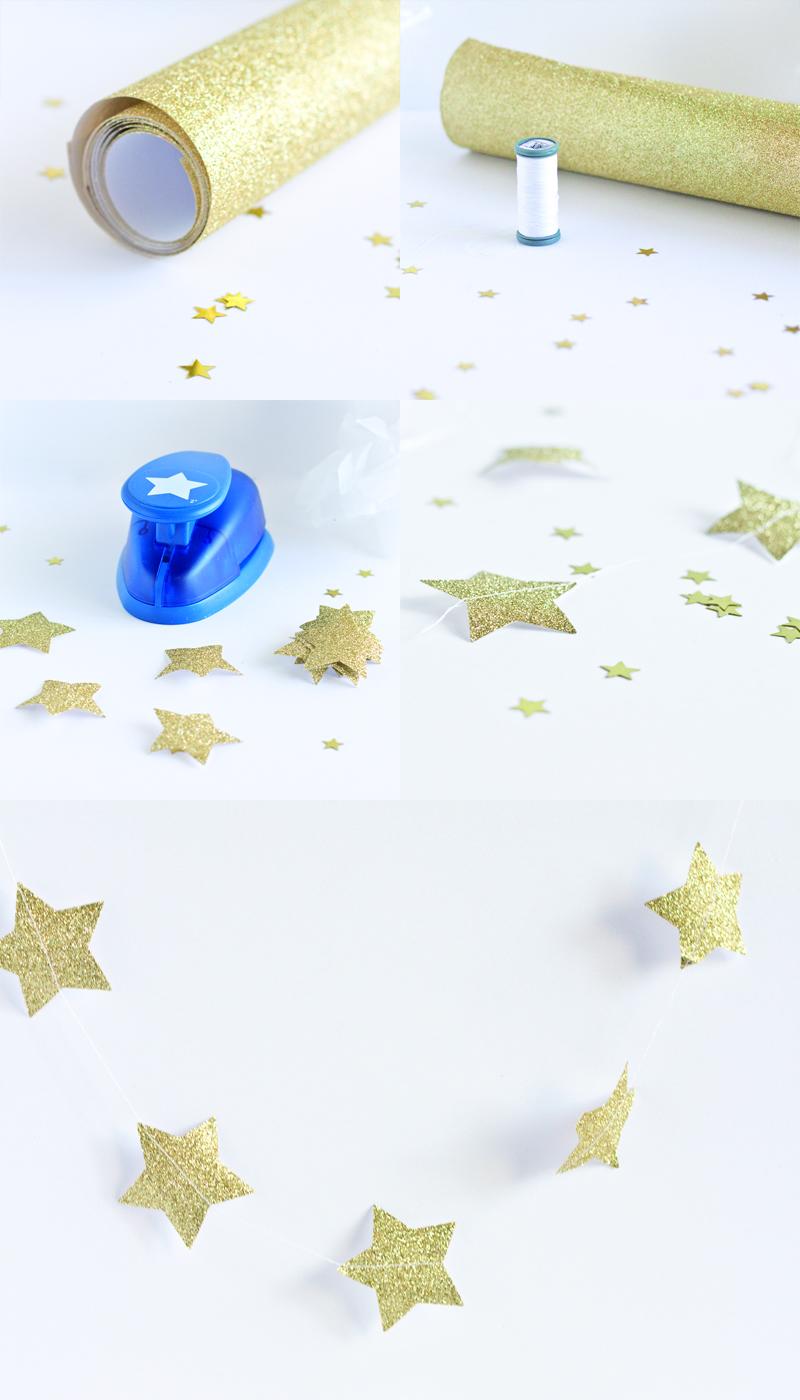 diy guirlande d'étoiles à paillettes - paperboat.fr