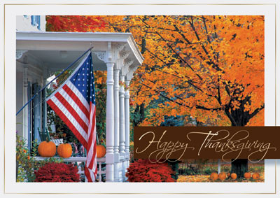 Fall Porch With Flag Box Of 25 Personalized Patriotic