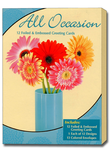 All Occasion Assortment Box of 12 Foiled  Embossed All Occasion Greeting Cards by Designer