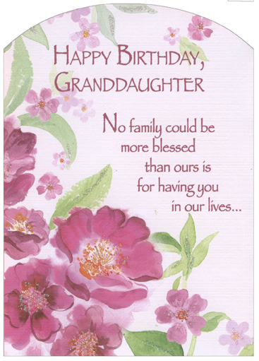 Pink Flowers With Glitter Z Fold Granddaughter Birthday