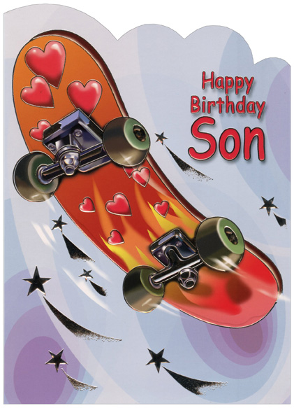 Red And Orange Skateboard Die Cut Son Birthday Card By
