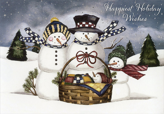 Snowman Family With Baby Box Of 18 Christmas Cards By