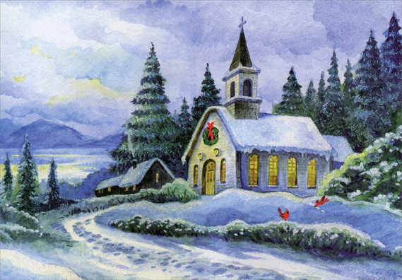 Snow Covered Church Religious Christmas Card By Designer