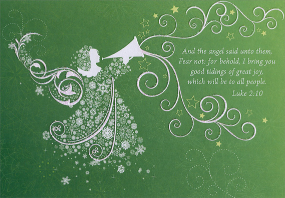 White Angel With Trumpet Religious Christmas Card By