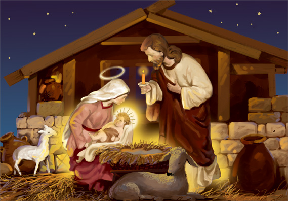 Mary Lays Jesus In Manger Box Of 18 Religious Christmas
