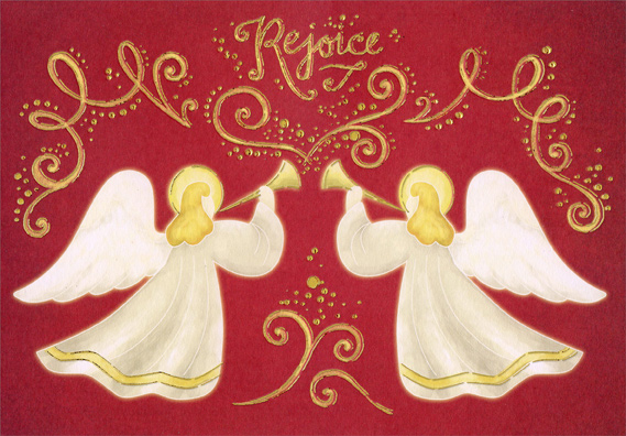 Gold Foil Angels On Red Religious Christmas Card By