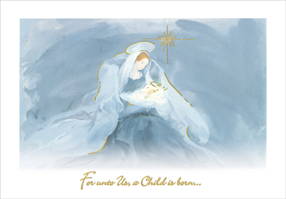 Mary And Jesus In Shades Of Blue Religious Christmas Card