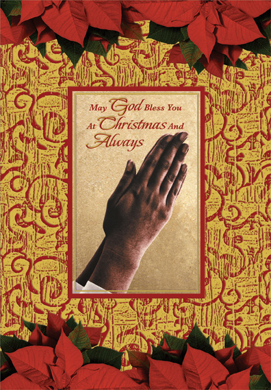 Hands Of Prayer African American Christmas Card By