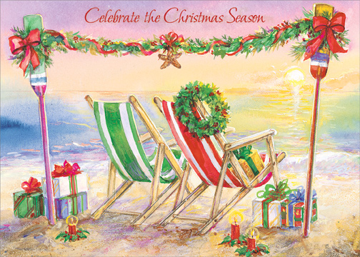 Beach Chairs And Garland Box Of 18 Warm Weather Christmas
