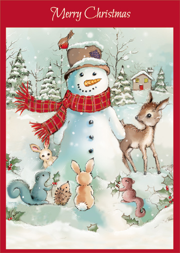 Snowman With Woodland Animals Christmas Card By Designer