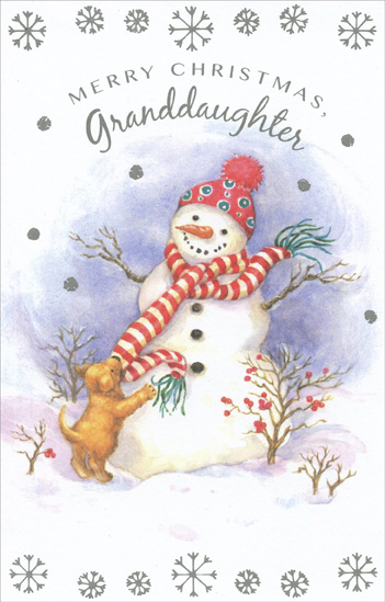 Snowman Amp Puppy Granddaughter Christmas Card By Freedom