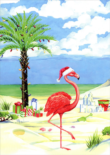 Flamingo On Christmas Beach Warm Weather Christmas Card By LPG Greetings