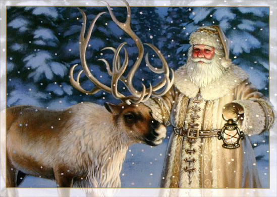 Old Fashioned Santa With Reindeer Christmas Card By LPG