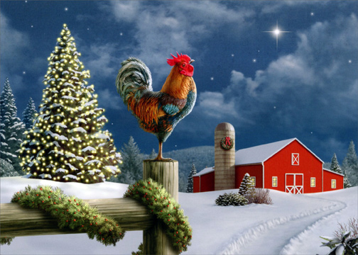Rooster On Fence Christmas Card By LPG Greetings
