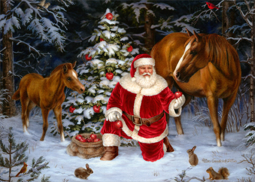 Santa With Two Horses Christmas Card By LPG Greetings