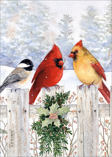 Birds On Fence Die Cut With Glitter Box Of 12 Maureen
