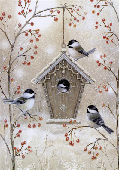 Birdhouse And Chickadees Sarah Summers Deluxe Glitter