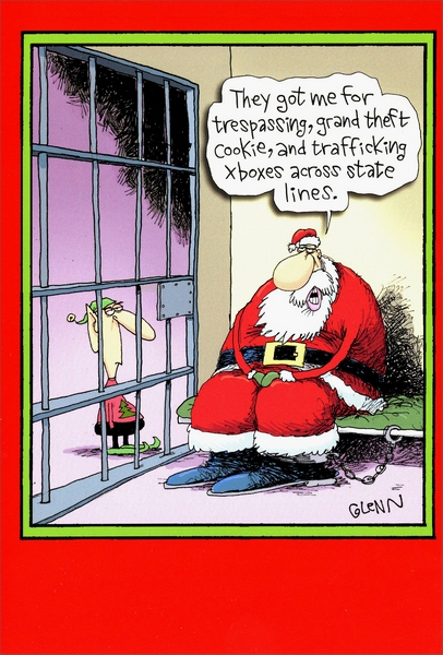 Santa In Jail Box Of 12 Funny Humorous Christmas Cards