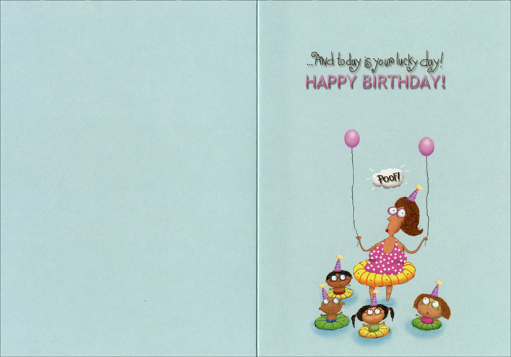 Kids In Swimming Pool Funny Humorous Birthday Card By