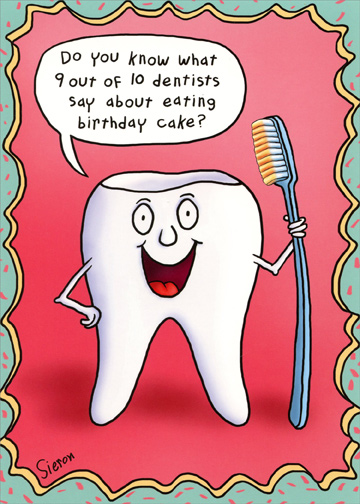 Tooth Holding Toothbrush Funny Birthday Card By Oatmeal