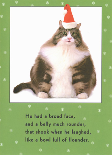 Cat Bowl Full Of Funny Humorous Christmas Card By