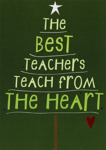 Teach From The Heart Christmas Card By Recycled Paper