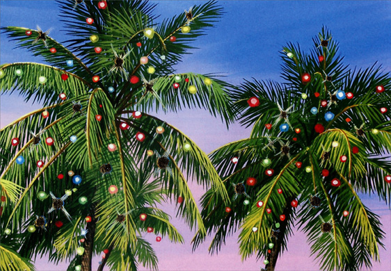 Palm Tree Lights Warm Weather Christmas Card By Red Farm