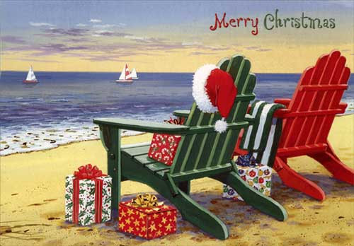 Red And Green Adirondack Chairs Coastal Christmas Card By