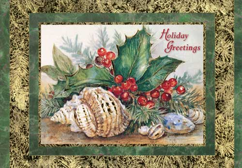 Holly And Shells Christmas Card By Red Farm Studios