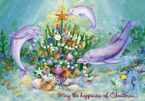 Three Dolphins Box Of 18 Tropical Christmas Cards By Red