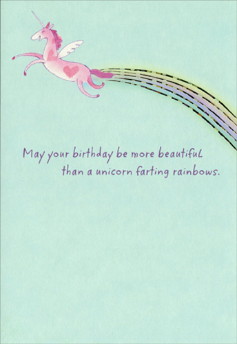 Unicorn And Rainbow Funny Humorous Birthday Card By
