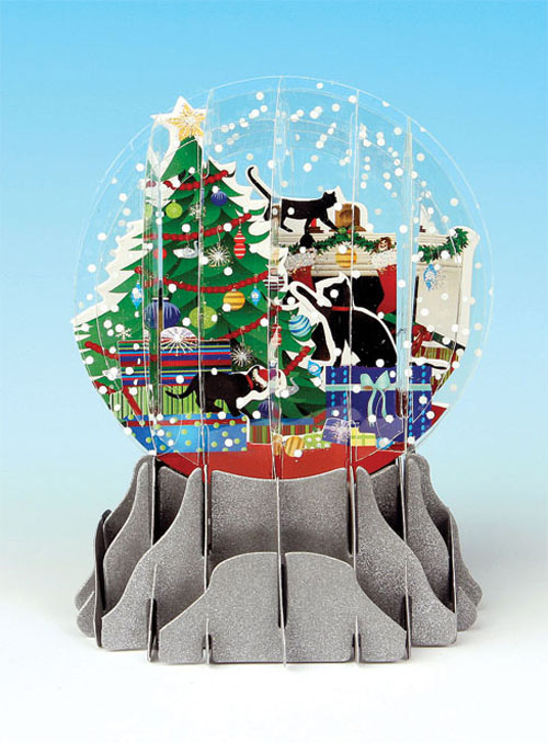 Holiday Cats Snowglobe Pop Up Christmas Card By Up With Paper