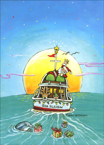 Sea Sleigh 1 Card1 Envelope Boat Christmas Card From