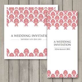 Damask Wedding Invite - DL and Square format