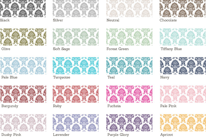 Damask Wedding Stationery Sample Colours