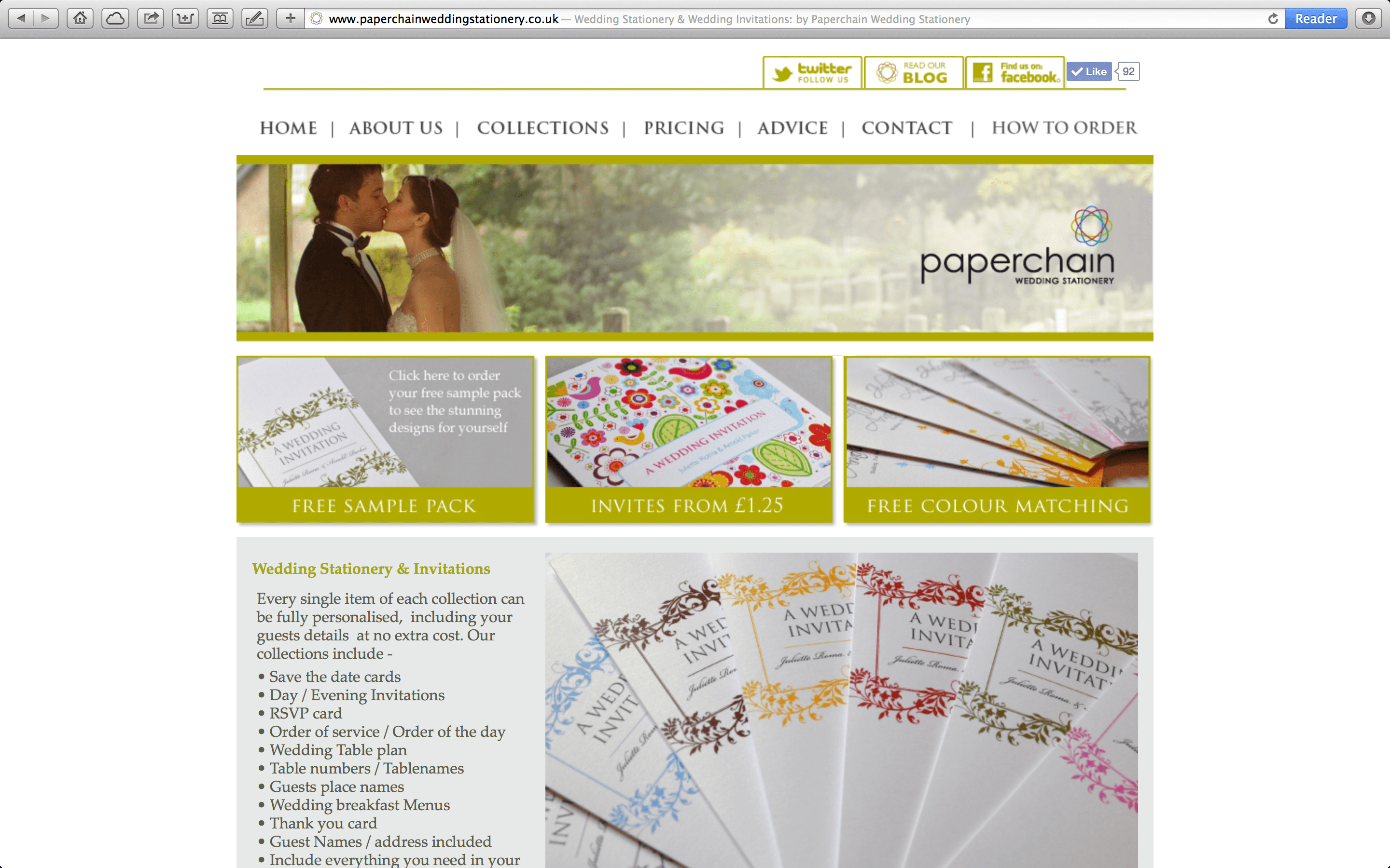Our old wedding stationery site