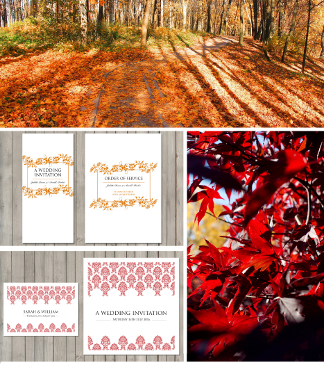 Autumn wedding stationery colours